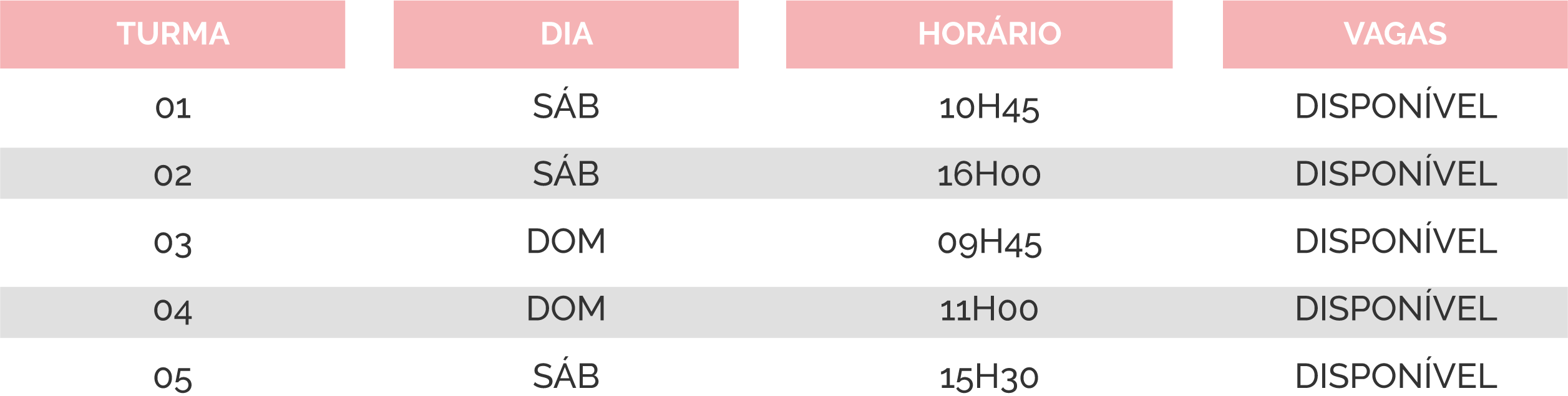 tabela lourosa 1 - Natação Bebés [turmas e horários]